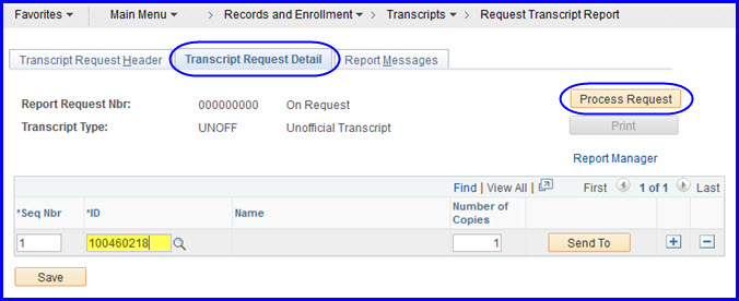 Transcript Request Detail tab
