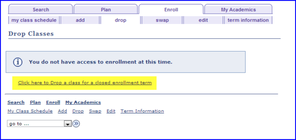 drop a class for a closed term link screen shot